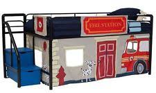 Fire Truck Bunk Bed Loft Bed Frame Curtains With Steps Kids Twin Bunk Storage