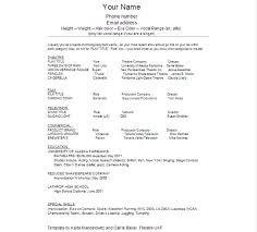 theatrical resume format theatrical resume format sle acting resume template yralaska