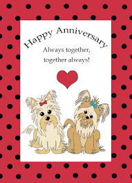 sweet printable anniversary card exle with a puppies and