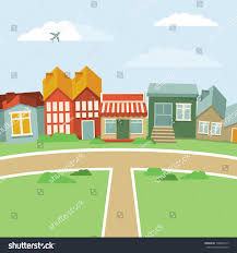 Landscape With Houses by Vector Cartoon Town Abstract Landscape Houses Stock Vector