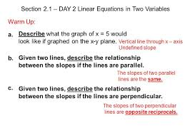 section 2 1 day 2 linear equations in two variables warm up
