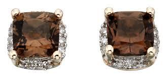 smoky quartz earrings yellow gold earrings