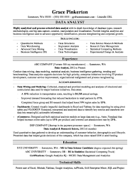 exle resume for data analyst resume sle