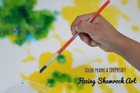 st patrick u0027s day art fizzing color mixing shamrock art fun littles