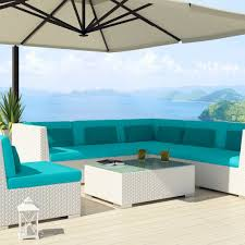 Teal Sofa Set by Amazon Com Uduka Outdoor Sectional Patio Furniture White Wicker