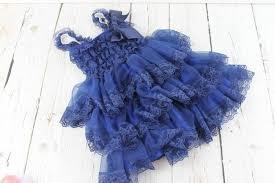 Country Shabby Chic Wedding by Navy Flower Dress Rustic Girls Dress Junior Bridesmaid