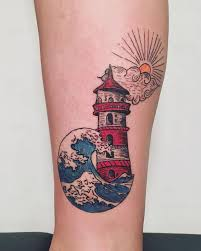 great wave and lighthouse tattoo my work pinterest tattoo
