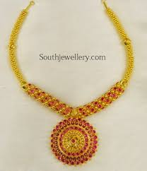 gold stones necklace images Red cz stones necklace jewellery designs jpg