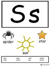 letter s alphabet flash cards for preschoolers myteachingstation
