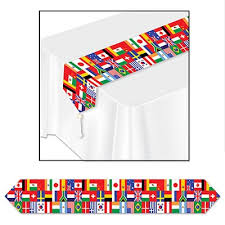 printed international flag table runner partycheap