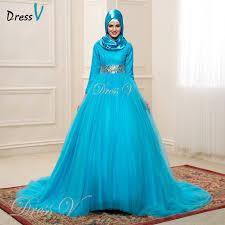 muslim wedding dresses blue color sleeves lace muslim wedding dresses with