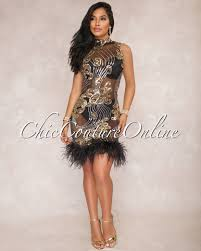 black and gold dress black gold sequin feather dress