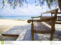 wooden beach bench and the sea stock photography image 25733612