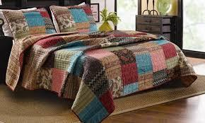 bohemian patchwork quilt king size 3 set