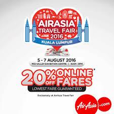 airasia travel fair air asia 20 off online fares airasia travel fair 2016 travel