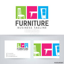 furniture vector logo with business card template