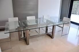 rectangle glass dining room tables engaging round glass dining table with chrome polished metal leg