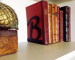 monogram bookends initial bookends etsy