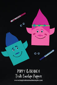 poppy and branch trolls envelope puppets puppet envelopes and craft