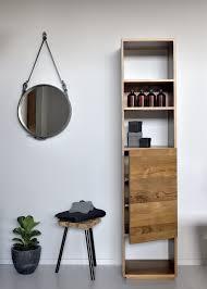 Teak Bathroom Bahtroom Round Mirror On White Wall Paint Above Simple Stools