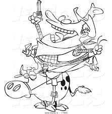 vector of a cartoon fat cowboy on a bull coloring page outline