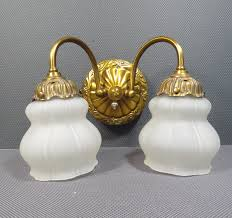 double wall sconce vintage 1940s 1950s gold metal frosted glass