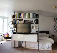 nice modular bookshelf applied inside bedroom with white bed frame