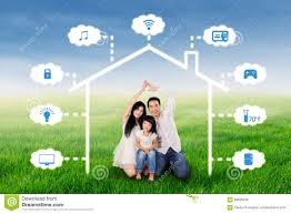 family with smart home design at field stock photo image 68599295