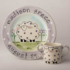 birth plates personalized personalized painted sheep baby birth plate and cup set