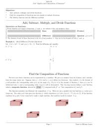 section 3 5 the algebra of functions composite functions