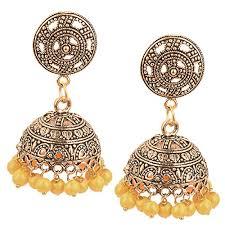 fancy jhumka earrings aelo antique handmade stylish fancy artificial oxidised yellow