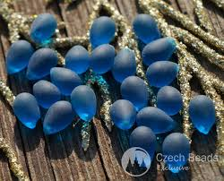 drop bead matte blue teardrop glass blue glass tear