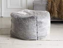 Restoration Hardware Faux Fur A Truly Elegant Pouf In Soft Silvery Grey Faux Fur With A Dense