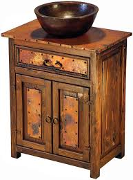 Rustic Bathroom Vanity Cabinets by Rustic Furniture Mexican Copper Inlaid Deer Valley Sink Cabinet