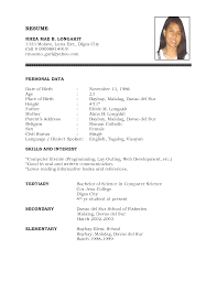 Mvc Resume Sample by Bio Data Resume Sample Free Resume Example And Writing Download