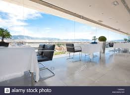 interior and panoramic view from top floor restaurant of chef