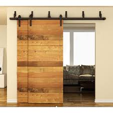 sliding barn door track and rollers amazon com winsoon 10ft bypass barn door hardware sliding kit for