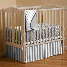 Miniature Crib Bedding Gray And White Dots And Stripes Mini Crib Bedding Lovely Compact