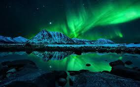 aurora borealis northern lights aurora borealis northern lights sky star mountain lights reflection