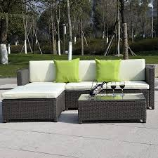 costway 5pc outdoor patio sofa set sectional furniture pe wicker