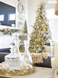 Gold White Christmas Tree Citrineliving Holiday Home Showcase 2016