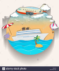 travel theme travel theme with cruise and airplane illustration stock vector