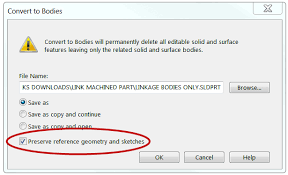 be careful using solidworks convert to bodies with referenced drawing