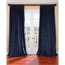 Blackout Navy Curtains Midnight Blue Velvet Blackout Wide Curtain Panel Overstock
