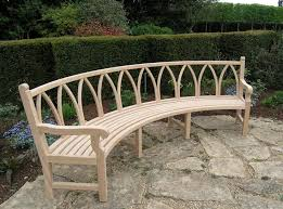 elegant curved garden benches wooden teak curved banana bench