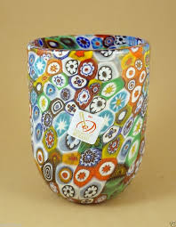 Italian Glass Vases New Murano Millefiori Tumbler Glass Vase Italian Art Glass Made In