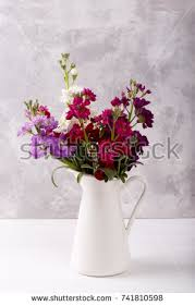 Red Flowers In A Vase Bouquet Fragrant Pink Stock Flowers Matthiola Stock Photo
