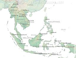 Himalayan Mts Map Southeast Asia Physical Map