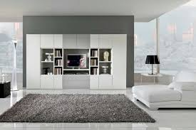 Modern White Bookcase by Living Room Gray Standing Lamp Gray Sofa White Bookcase Gray Rug