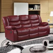 Leather Electric Recliner Sofa Cranberry Premium Bonded Leather Electric Recliner Sofa Collection